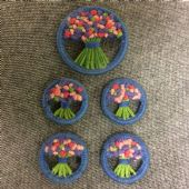 "1940s Buttons and Brooch ""Make-do-and-mend"" hand embroidered set ( SOLD)"